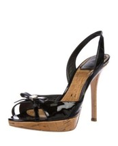Christian Dior Patent Leather Slingback Sandals Size 6 Peeptoe Bow Heels... - $94.04
