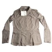 Wolford Seal Grey Durban Button Down Sateen Cotton Blouse EU 38 US 10 NWT $395 - $123.26