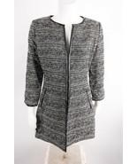 Cache Luxe Women's Sweater Jacket Blazer Small Black White Tweed Wool Op... - $59.39