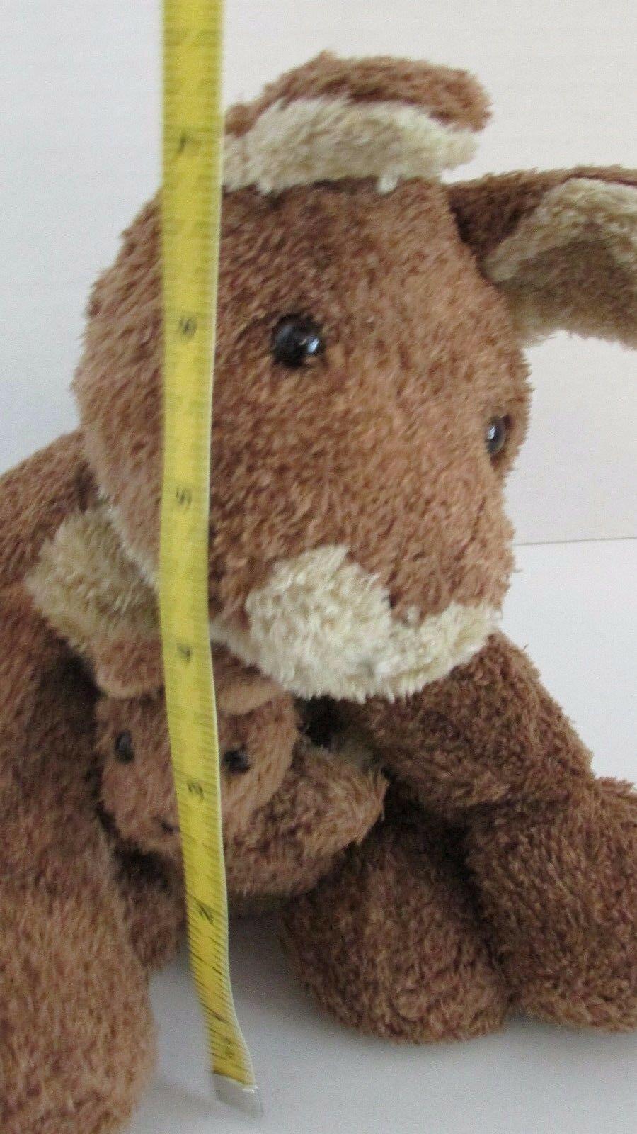 Brown cream tan Kangaroo mom baby joey beanbag plush soft floppy no tags image 9
