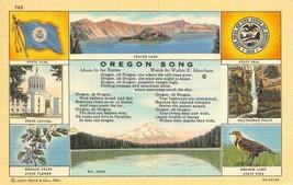 Or, Oregon Song~C API Tol~Flower~Seal~Bird 1940 Curt Teich Linen Postcard - $4.94
