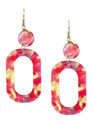 Retro Vintage Style Marble Lucite Stone Dangle Earrings (Red Multi)