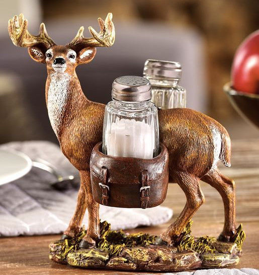 "7.1"" High Deer Design Tray with Salt & Pepper Shakers NEW"