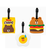 LINE Friends Burger Chips Silicon Name Tag Travel Luggage Suitcase Bag P... - $24.99