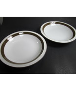 Mikasa Metro White Brown Rimmed Soup Bowls  Set of 2  L4825 - $8.25