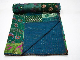 Patchwork Queen Cotton Kantha Throw Blanket Bedspread Indian Kantha Quil... - $73.49