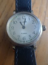 Vintage Belarus USSR Soviet Mechanical Wrist Watch LUCH 15 Jewels w. Black Band - $28.00