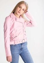 Women's Genuine Lambskin Leather Jacket Black Slim fit Motorcycle jacket-05 - $123.49
