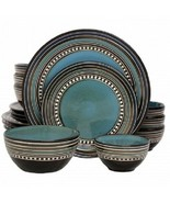 Gibson Elite Café Versailles 16 Piece Double Bowl Dinnerware Set - Blue - $74.44