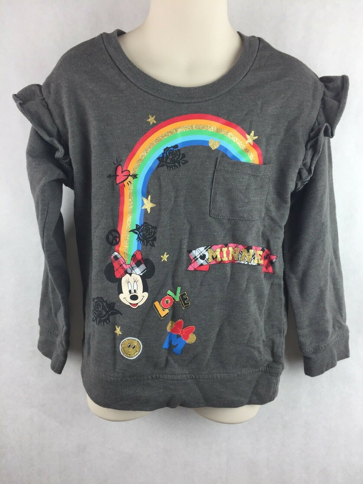 Disney Kids Minnie Gray Rainbow Long Sleeve Shirt Ruffle Shoulder Size XS 4-5