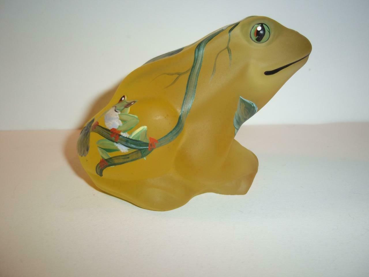 Fenton Glass BUTTERCUP YELLOW SATIN HP FROG Ltd FAGCA Exclusive by CC Hardman