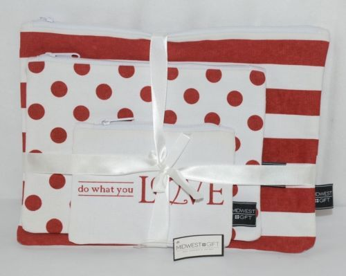 Midwest Gift CBK Three Piece Red White Canvas Zip Up Cosmetic Bag Set