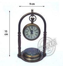 Brass Table Desk Analog 12 hour Clock & Needle Compass Attach Portable Bedside G - $32.73