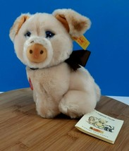 Steiff Snuffi Pig Plush #077289 Stuffed Animal Sitting Pale Pink Piggy W... - $67.03