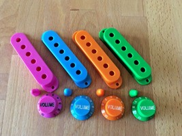 Guitar S-type Single Coil Cover Set, 3 pick up covers, 3 knobs & coloure... - $9.33