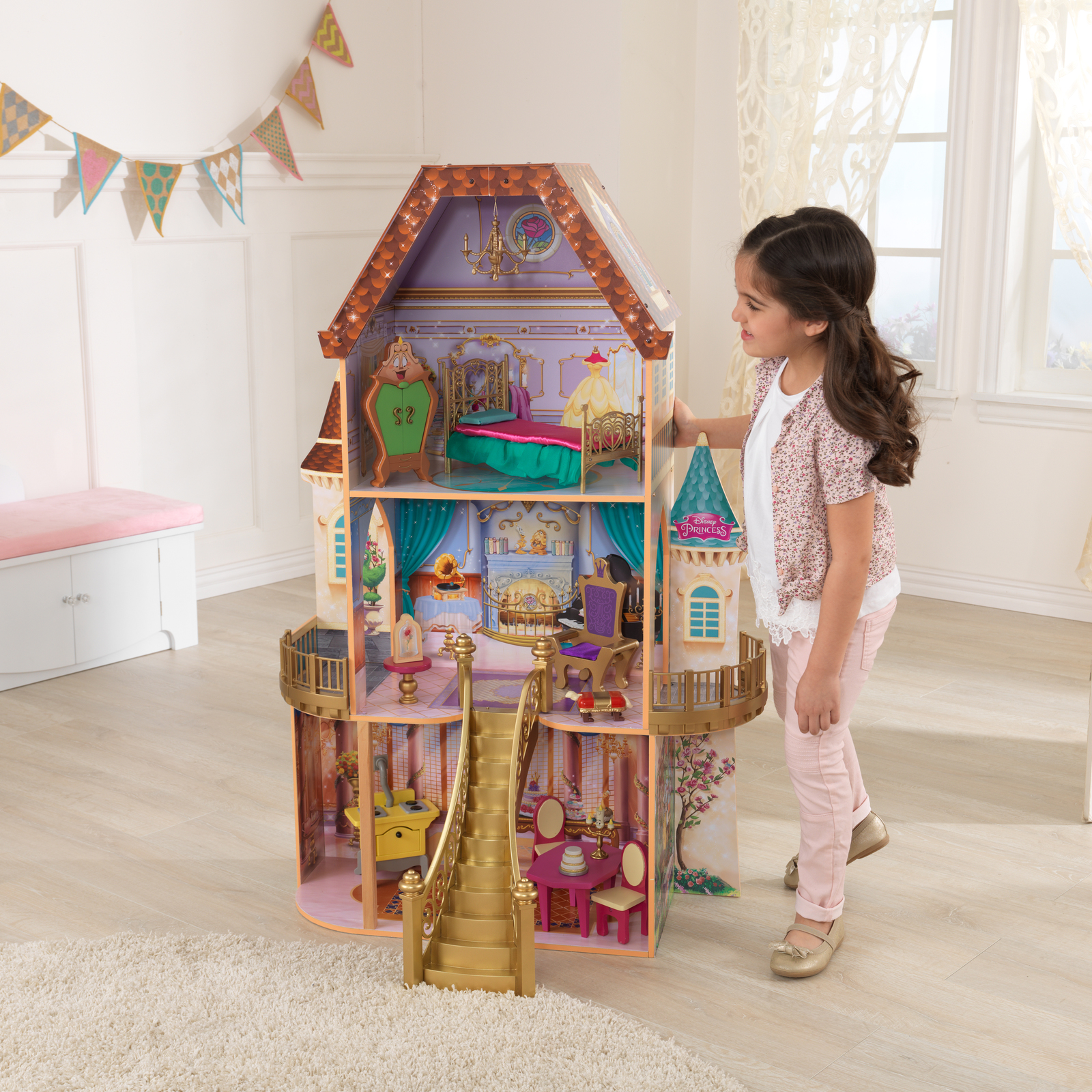 Disney Princess Belle Enchanted Dollhouse w/Furniture and Accessories