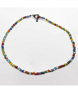 Colorful Glass Beaded Sterling Silver Toggle Necklace  - $11.64