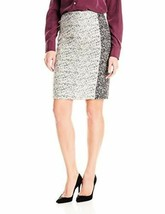 Nwt Calvin Klein Black Cream Gray Jacquard Knit Pencil Skirt Knee-Length 2 - $16.99