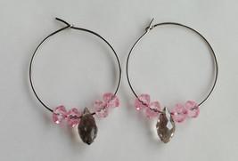 Pink and Grey Beaded Hoop Earrings  - $10.00