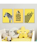 Nordic Poster Yellow Zebra Canvas Painting Cartoon Poster Lover Picture ... - $6.99+