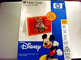NEW HP 4 x 6 Note Cards DISNEY Inkjet Matte 30ct CD Software Mickey Mouse - $13.59