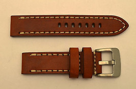 24mm Honey genuine leather watch band heavy duty strap fit Luminox white... - $34.95