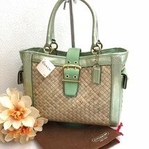 NWT COACH Straw Boxy Tote (Green) - Style 4419 from 2005 - $98.99