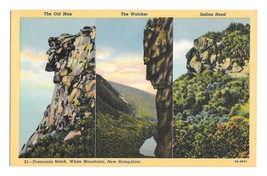NH Franconia Notch Multiview Three Rock Faces Old Man Watcher Indian Hea... - $4.99