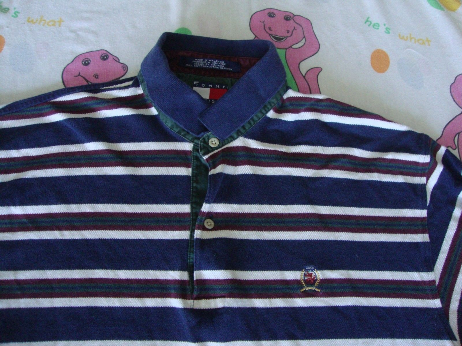29260ac1 S l1600. S l1600. Previous. Vintage TOMMY HILFIGER Stripe Navy 90's Rap Hip  Hop Long Sleeve Polo Shirt XL