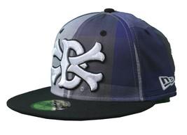 Dissizit Dx11 Bones Gingham Blue & Black New Era 59FIFTY Fitted Baseball Hat NWT image 2