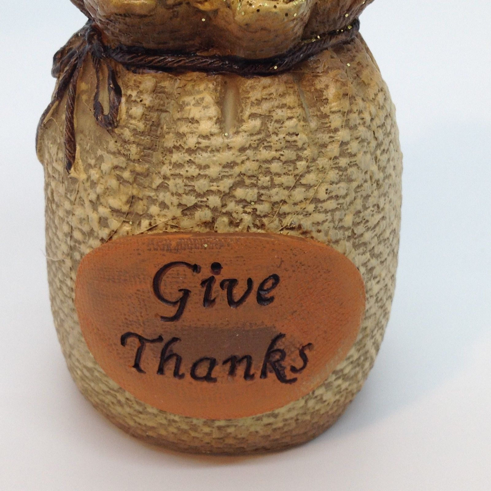 """GIVE THANKS BIRD FIGURINE Light Up Fall Thanksgiving Home Decor Gift 6"""""""