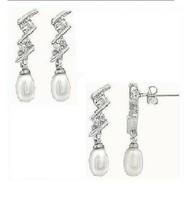 White Gold Plated Pearl-Like Drop Drop Dangle earrings  - $12.99