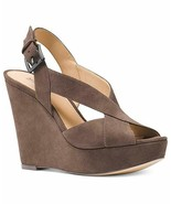 """New in Box MICHAEL KORS Taupe Suede Becky Wedge Sandals 5"""" Heel Open Toe 9 - $79.19"""