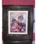 Lee Clown Art Print Children Clowns Music - Smiling Girl Frowning Boy - $8.55