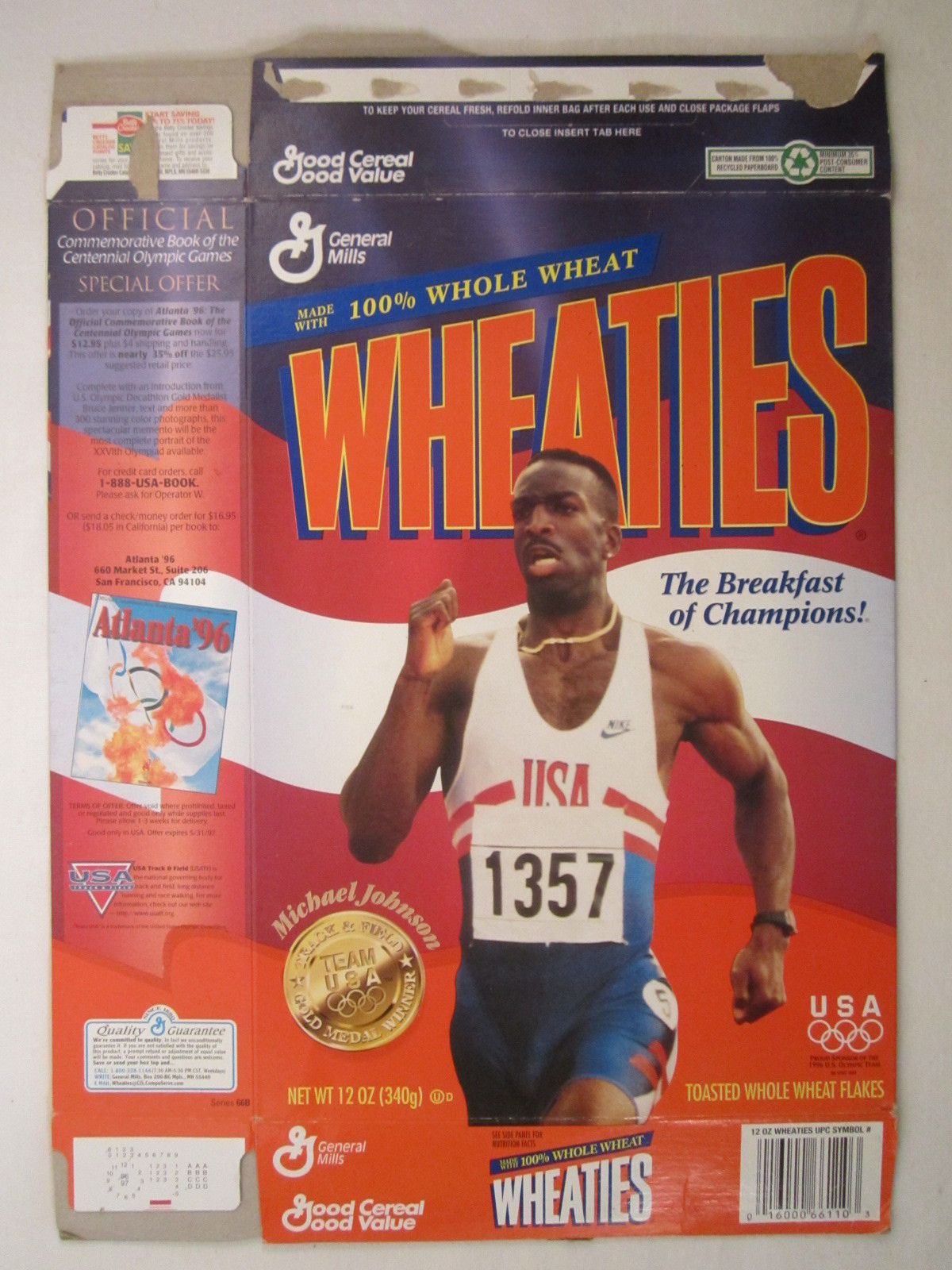 Primary image for MT WHEATIES Box 1996 12oz MICHAEL JOHNSON Track & Field Winner OLYMPICS [G7E13o]