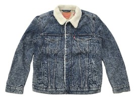 Levis Red Tab Mens XL Blue Acid Wash Denim Jean Sherpa Trucker Jacket Ty... - $112.10