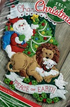 Bucilla Peace on Earth Santa Lion Lamb Dove Christmas Felt Stocking Kit ... - $39.95
