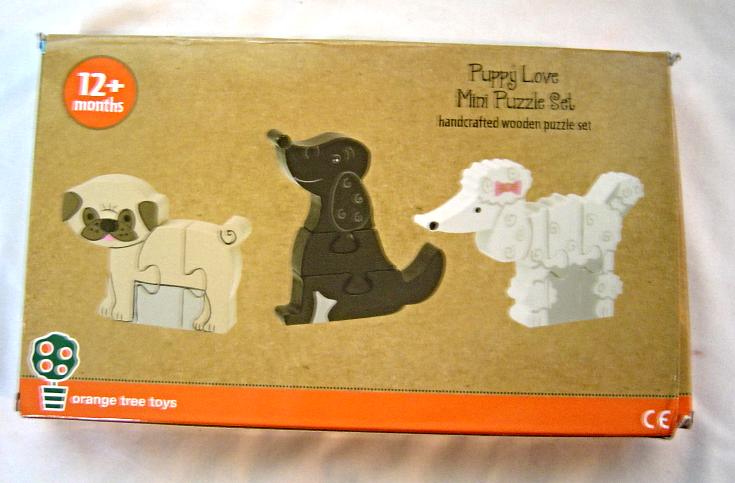 Puppy Love Mini Puzzle Set NIB Orange Tree Toys Handcrafted Wooden Puzzle Set