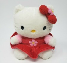 "7"" 2000 Sanrio Smiles Hello Kitty Stuffed Animal Plush Toy Doll Red Pink Dress - $23.01"