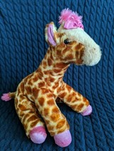 Girlz Nation Pink Sparkle bow glitter girl Giraffe Stuffed Animal Aurora... - $11.99