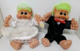Bride & Groom Troll Dolls Int'l Teddy Bear Wedding Dress Green Hair Tux ... - $69.29
