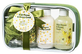 Bath and Body Travel Size Gift Set for Women, in Wild Flower and Honey Comb Frag