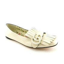 New GUCCI Size 7.5 Ivory Patent MARMONT Fringe Loafers Flats Shoes 38 Eur - $579.00