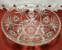 """EARLY AMERICAN PRECUT EAPG STAR OF DAVID GLASS SERVING BOWL 10 3/4"""" image 2"""