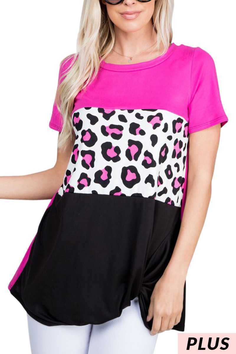 Womens Leopard and Pink top in Plus