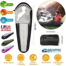 23-50℉ Camping Mummy Sleeping Bag Water-Resistant Hiking Warmly w/Carryi... - $41.12 CAD