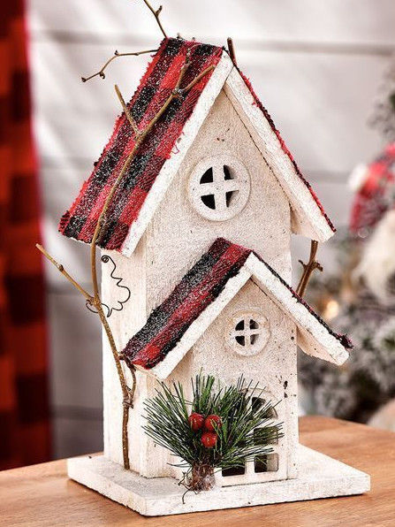 "11"" Christmas 2 Storey White House Design Decor w Green Pine Needles Red Berries"