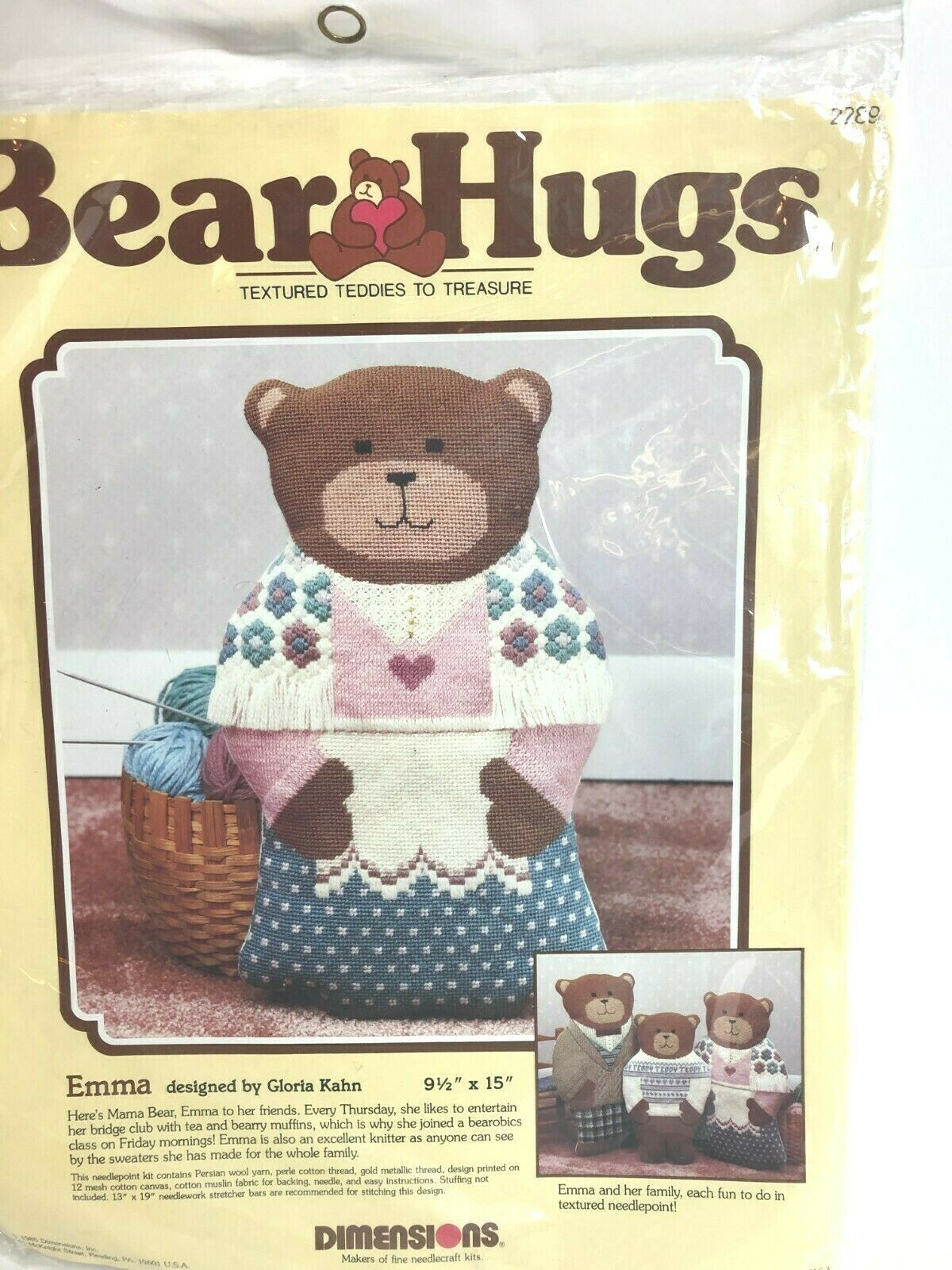 Primary image for Dimensions Bear Hugs Emma Needlepoint Kit # 2289 by Gloria Kahn 1985 Vintage