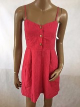 COPE UO Women's Red Spaghetti Strap Front Snap Casual Summer Dress Size ... - £17.54 GBP