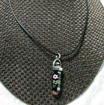 Murano Glass Pendant Pendulum Necklace Black with Flowers Handcrafted Gi... - $12.50